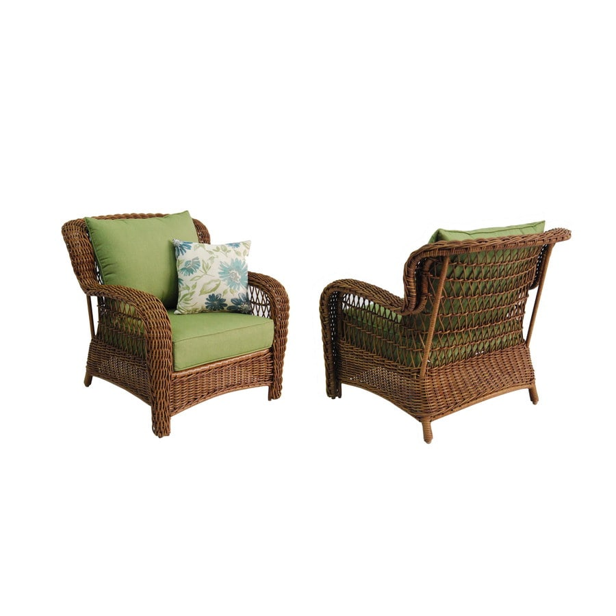 Allen + Roth Set Of 2 Belanore Steel Strap Seat Patio Chairs With Solid  Green