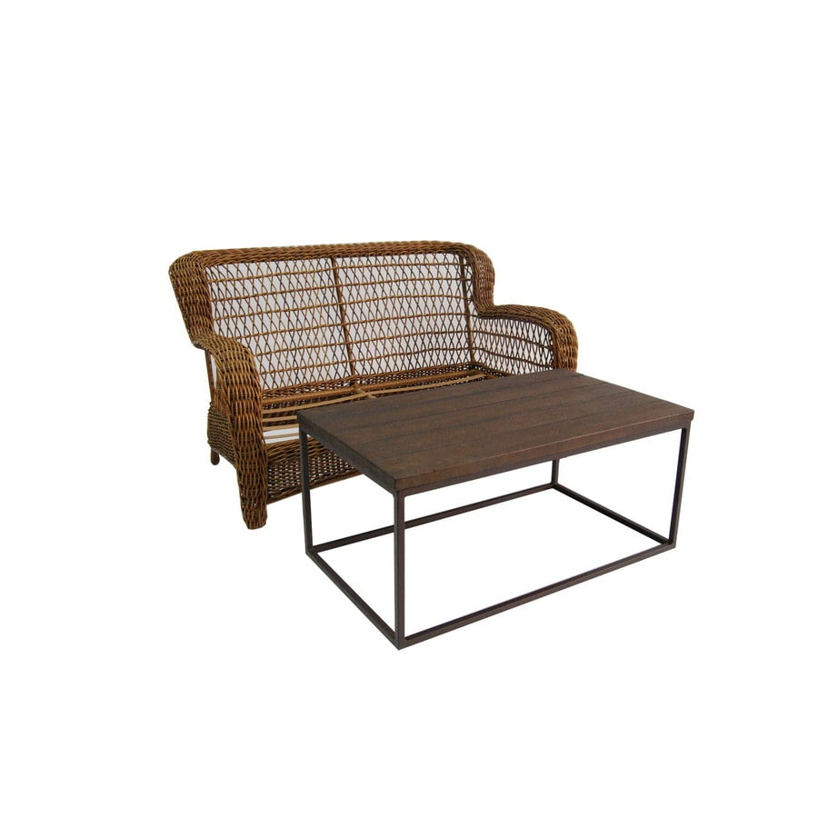 allen + roth Belanore 2-Piece Wicker Patio Conversation Set