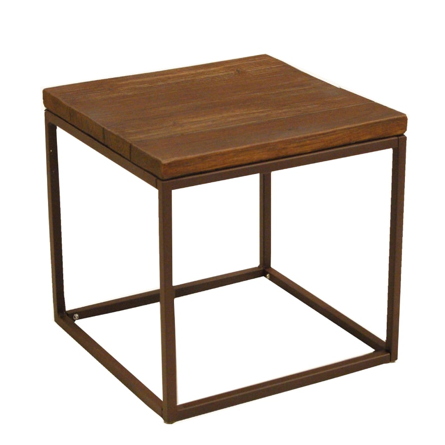 allen + roth Belanore 20-in x 20-in Rust Steel Square Patio End Table