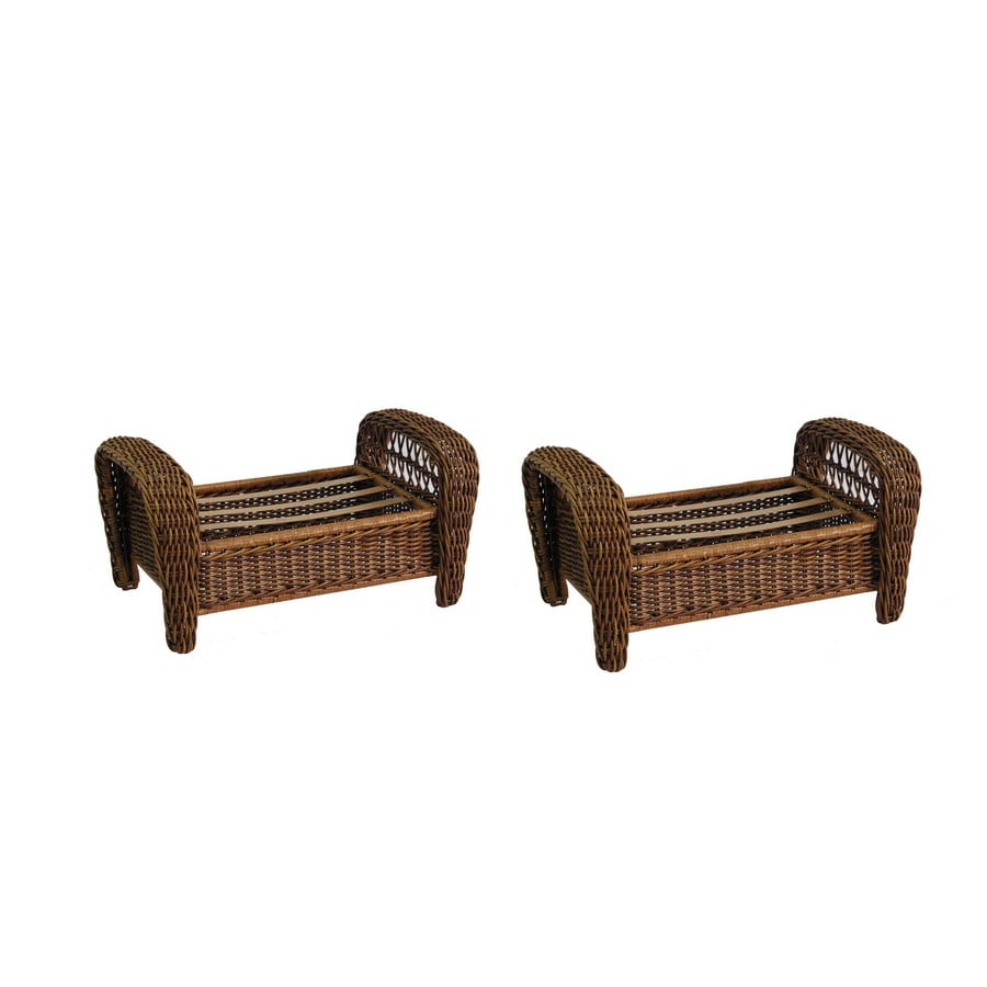 allen + roth Set of 2 Belanore 17.25-in L x 24.75-in W x 10.25-in H Brown Wicker Ottoman