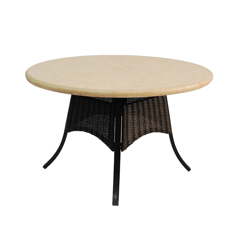 Allen + Roth Pardini Composite Material Top Oil Rubbed Bronze Round Patio  Dining Table