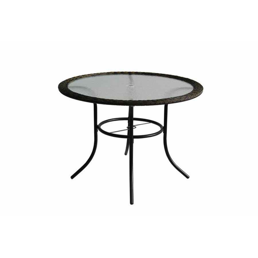 shop garden treasures severson 40 in w x 40 in l 4 seat round brown wicker patio dining table. Black Bedroom Furniture Sets. Home Design Ideas