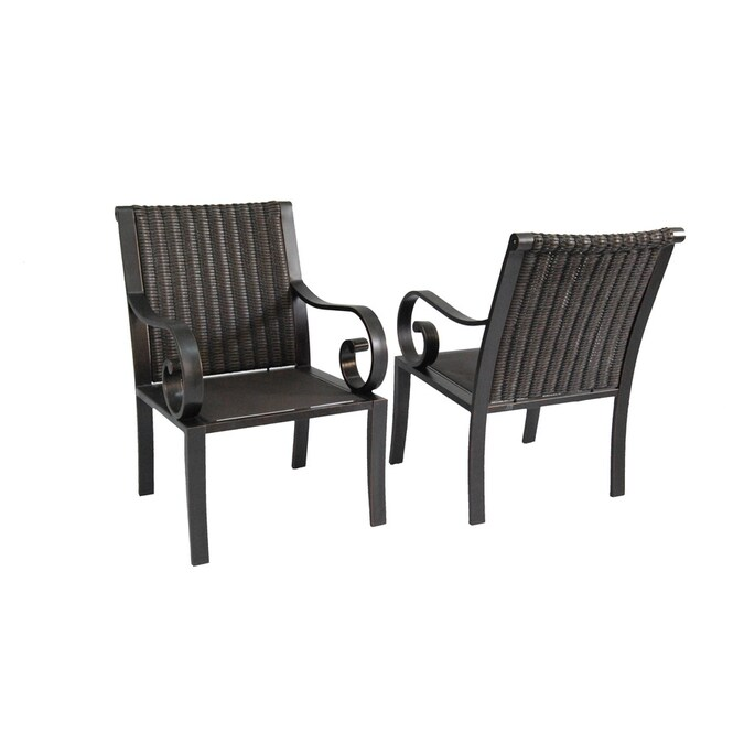 Allen Roth Set Of 2 Pardini Oil Rubbed Bronze Woven Seat Aluminum Patio Dining Chairs In The Patio Chairs Department At Lowes Com