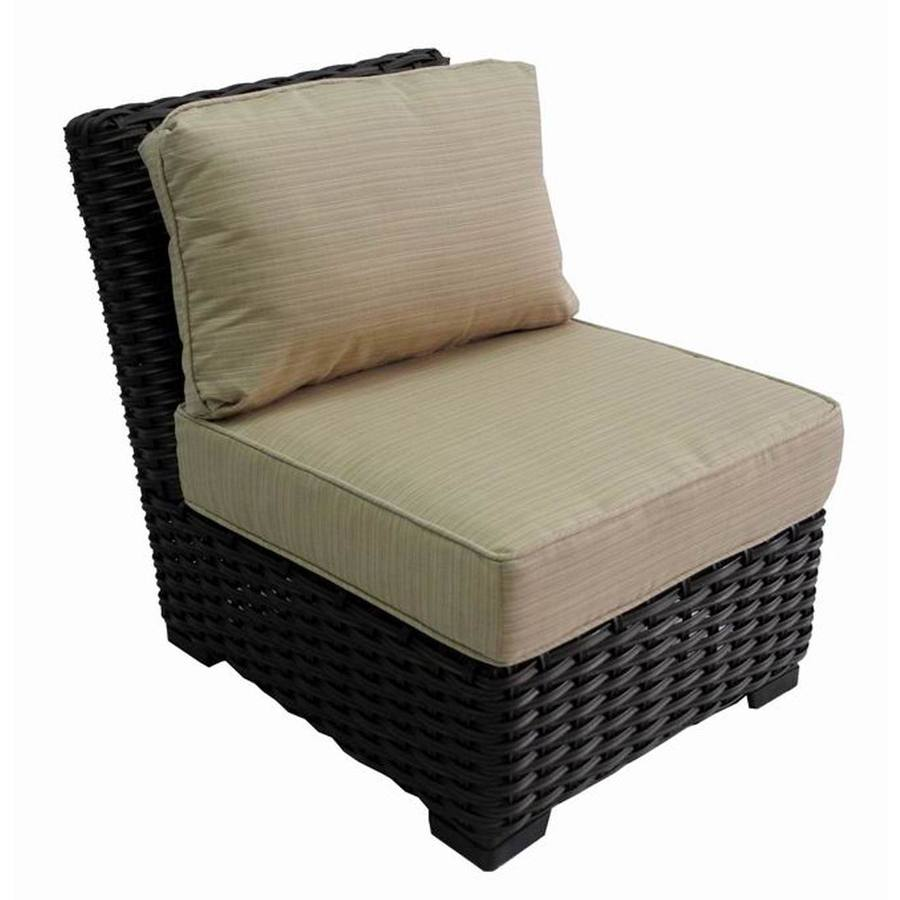 Allen Roth Blaney Brown Wicker Patio Conversation Chair With An Beige Sunbrella Cushion