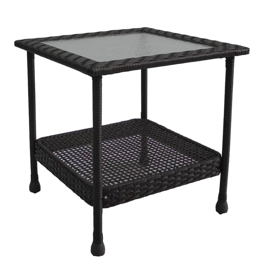 Lovely Garden Treasures Glenlee Brown Wicker Square Patio End Table With A Glass  Tabletop