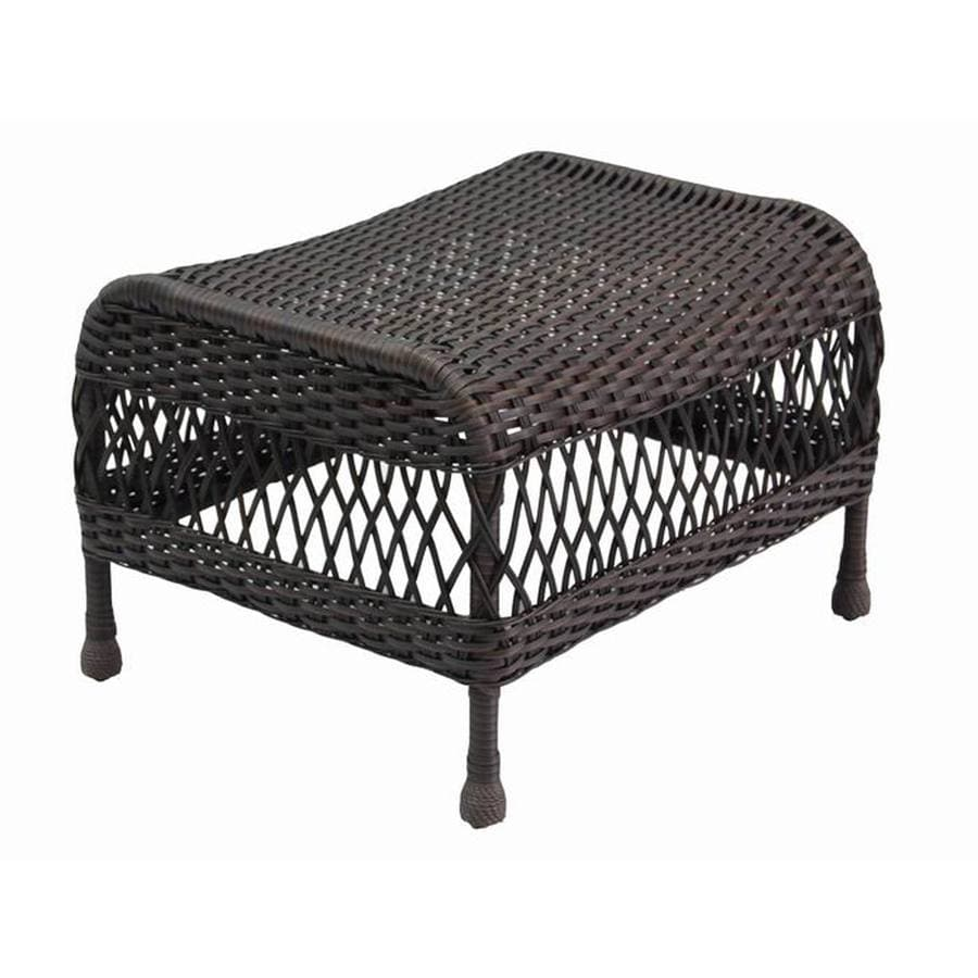 Shop Garden Treasures Glenlee Brown Wicker Ottoman At