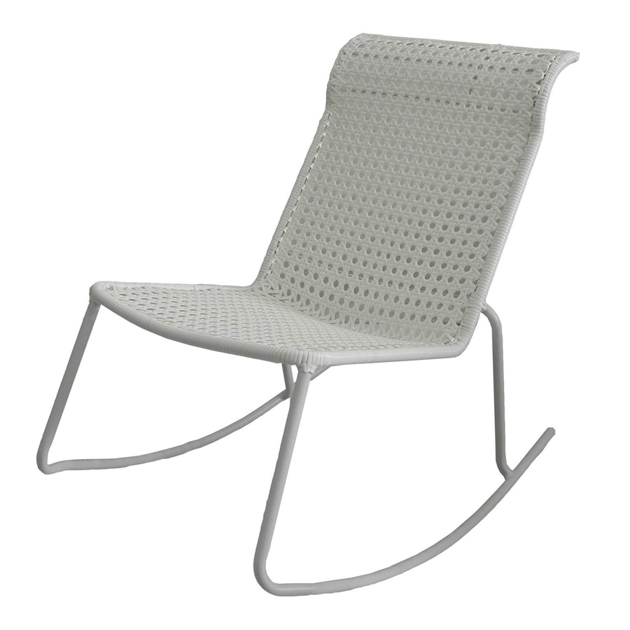 Garden Treasures Jewel Point White Steel Stackable Patio Rocking Chair