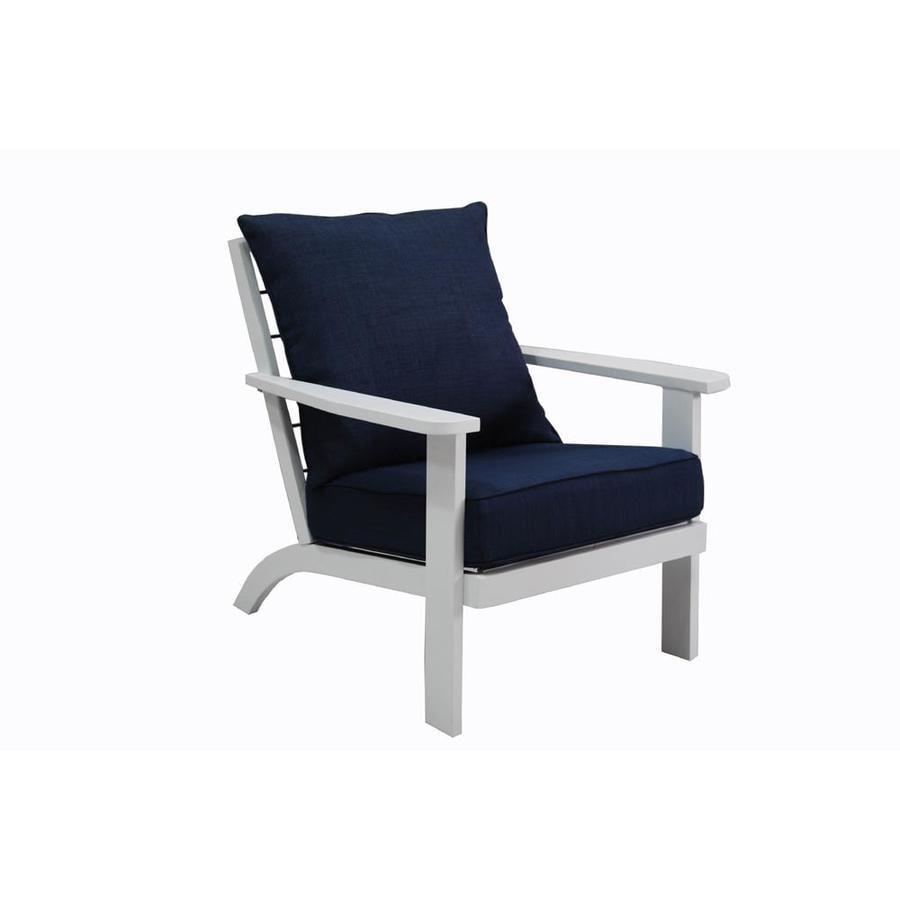 Allen + Roth Cape Cottage White Aluminum Patio Adirondack Chair With A Blue  Solartex Cushion Part 85