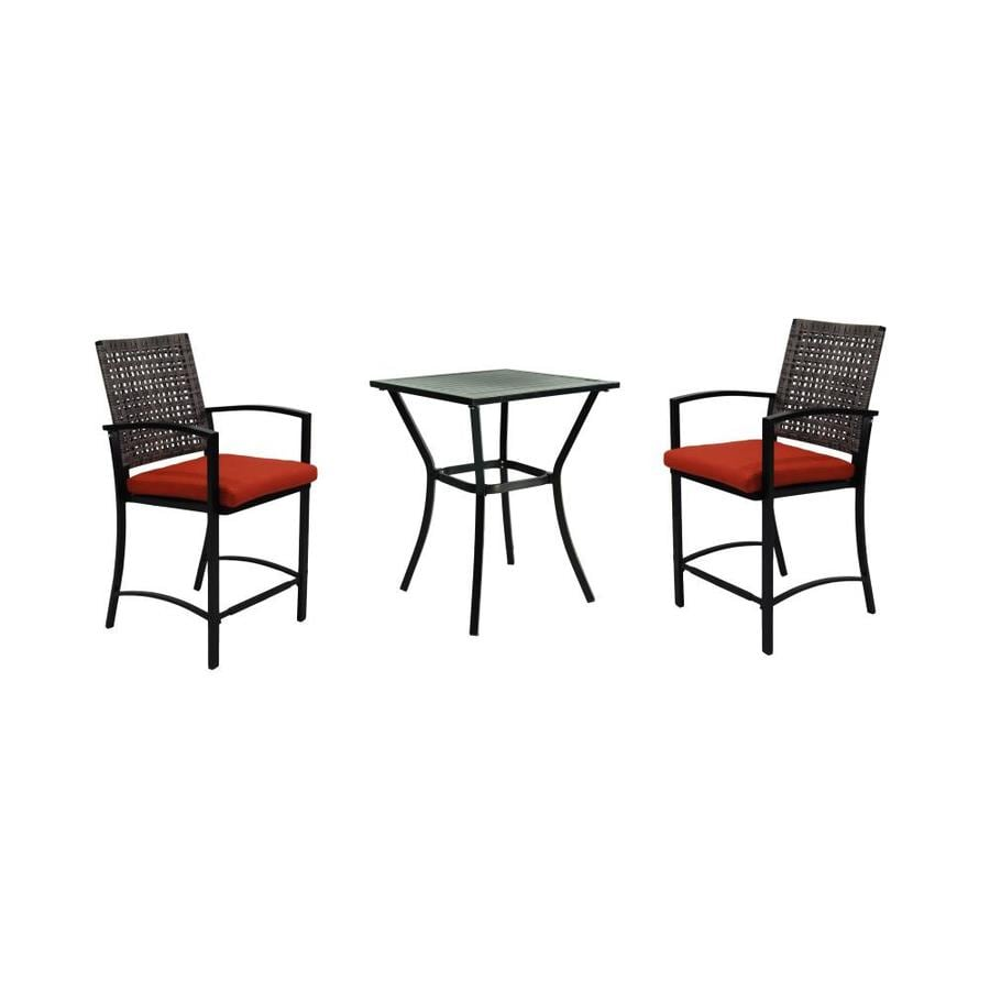 Stanton 3 piece living room set brown - Garden Treasures Lunburg 3 Piece Black Aluminum Wicker Dining Patio Dining Set With Red Solartex