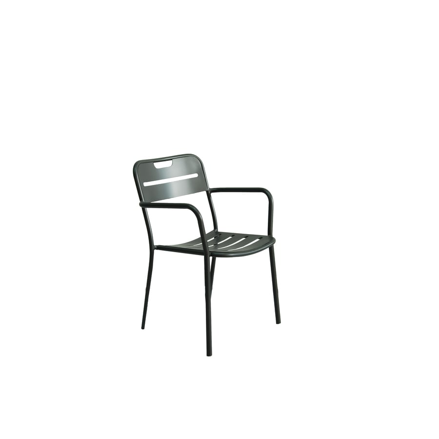 Charcoal Aluminum Stackable Patio Dining Chair