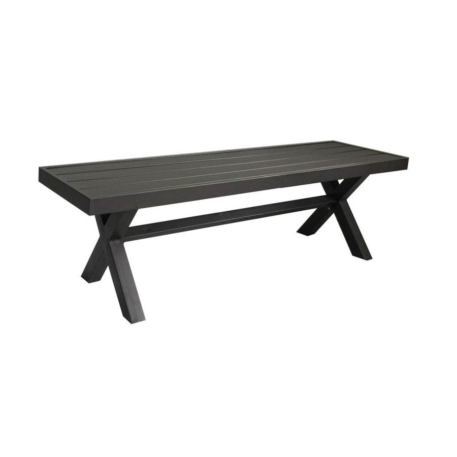56 In W X 16 In L Brown Steel Patio Bench