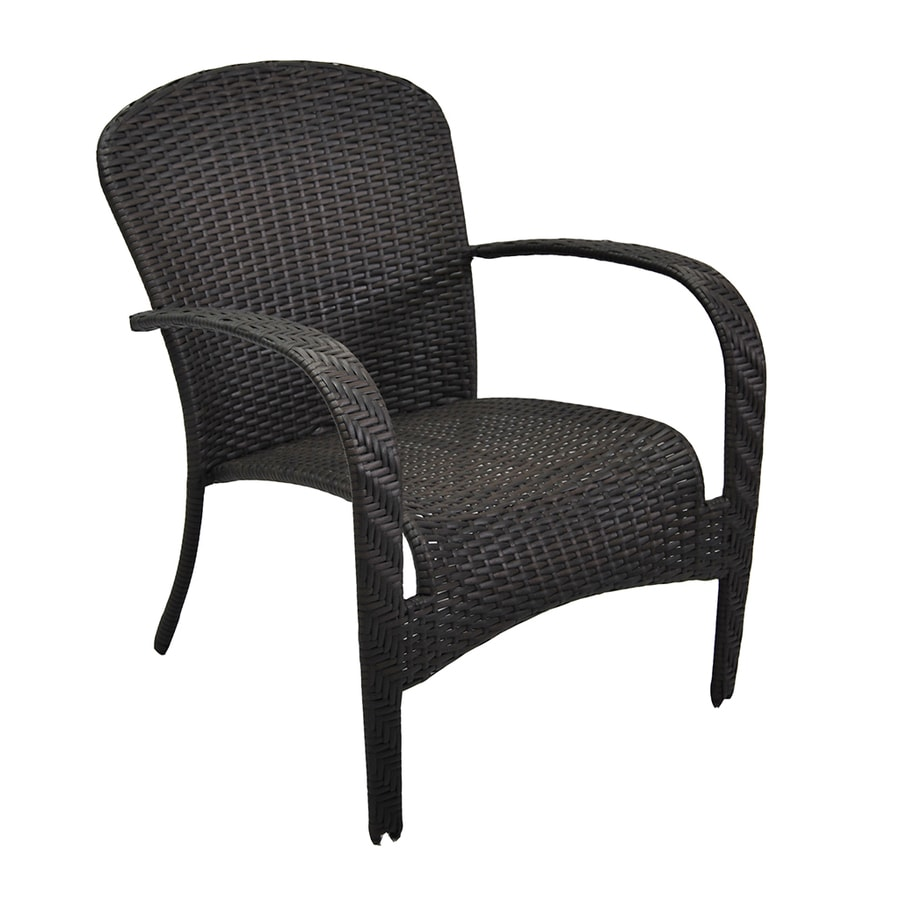 Garden Treasures Trevose Brown Steel Woven Stackable Patio Conversation Chair
