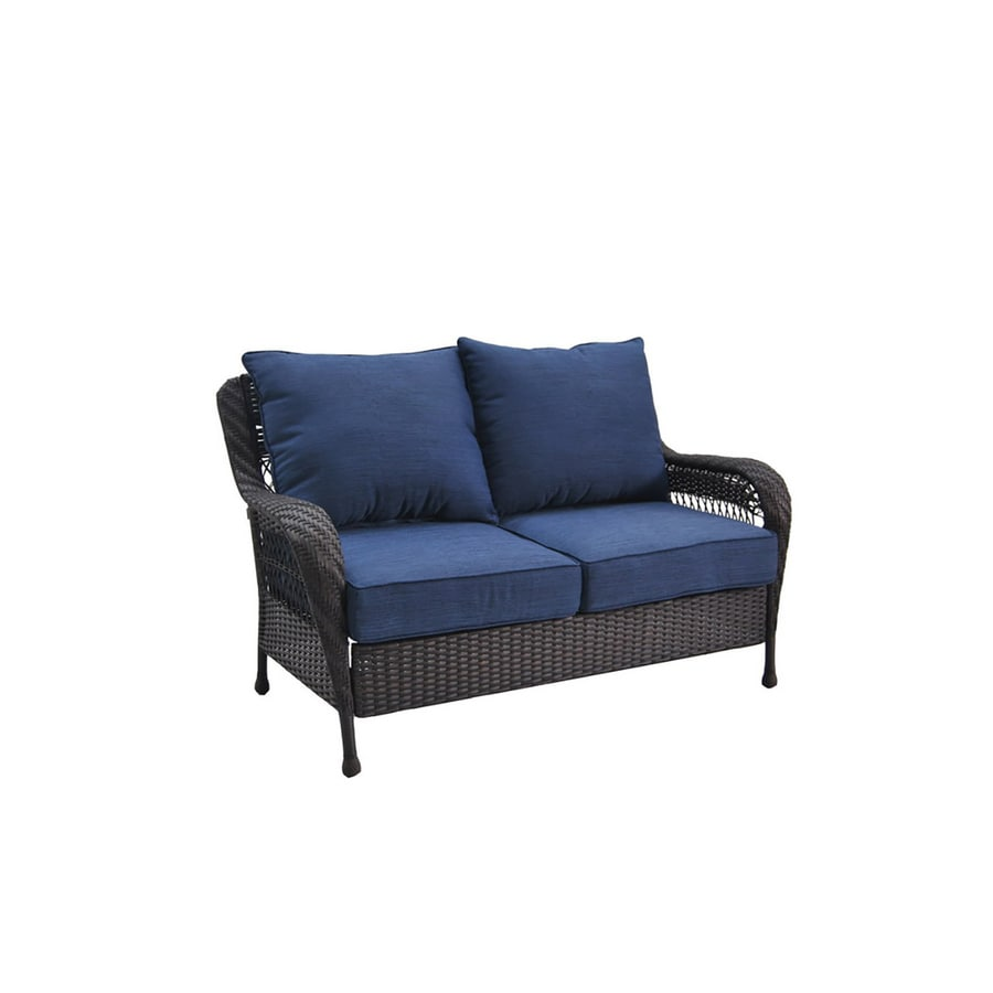 Shop allen roth glenlee brown wicker 2 seat patio loveseat with blue cushions at Loveseat cushions for outdoor furniture