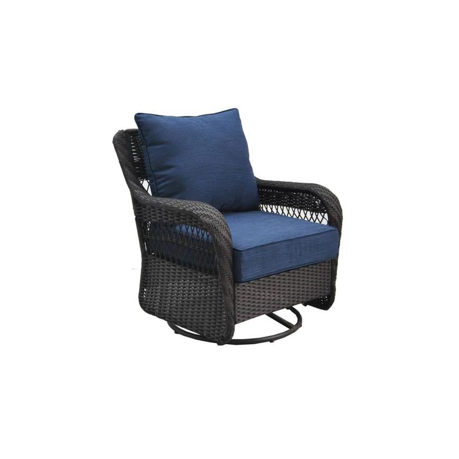 Lovely Allen + Roth Glenlee Brown Wicker Swivel Glider Patio Conversation Chair  With A Blue Cushion Part 12