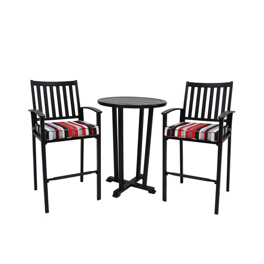 Allen Roth Thorncliffe 3 Piece Black Metal Frame Bistro Patio Set With Gray White Red Cushions