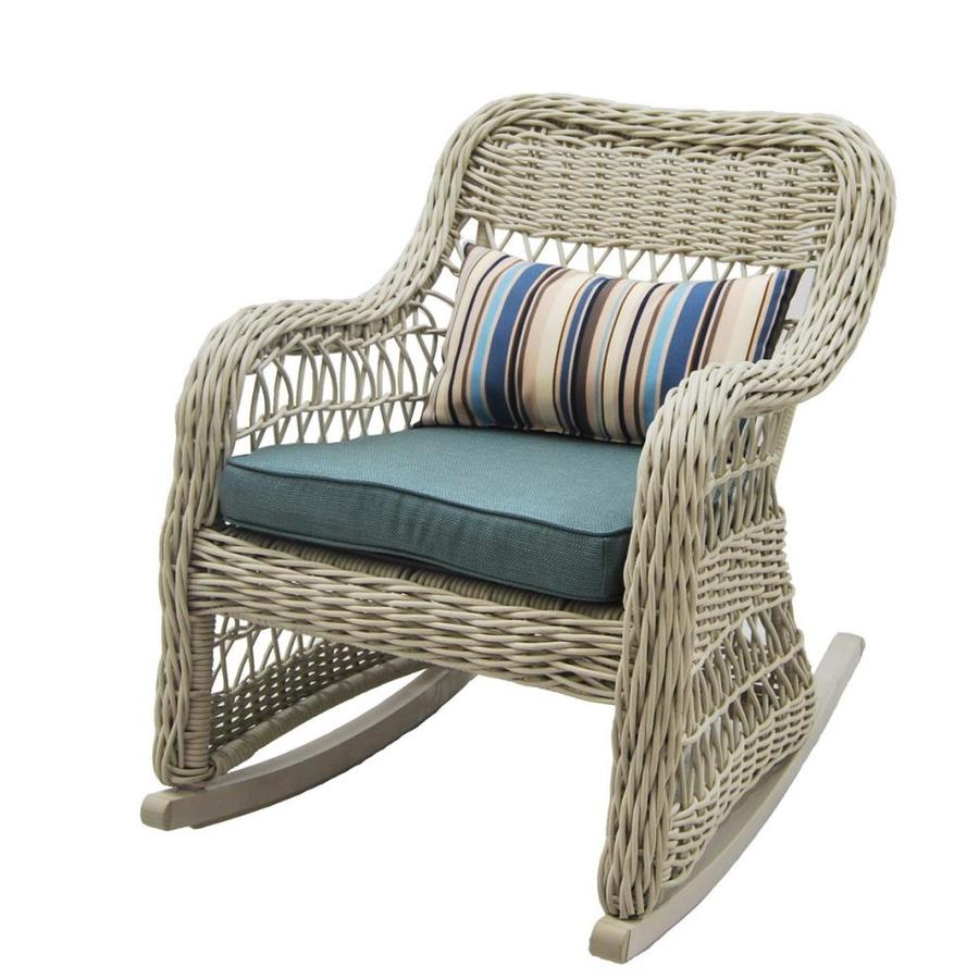 Allen Roth Belsay Woven Steel Rocking Chair With Green