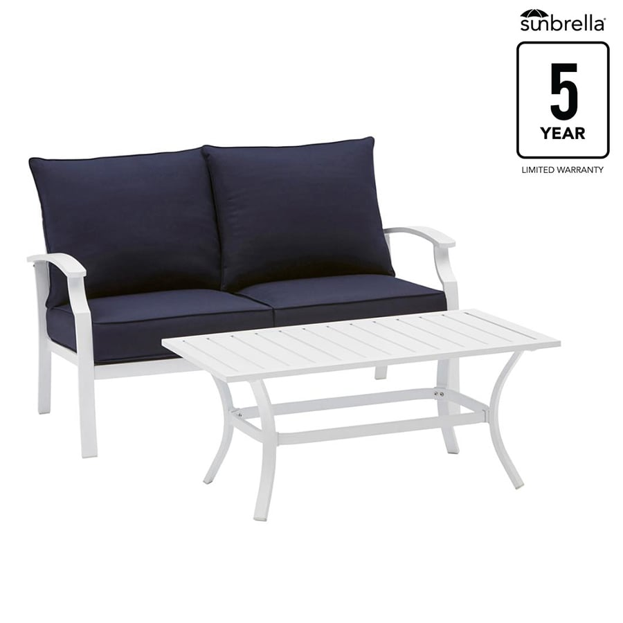 Allen roth seavale 2 piece frame patio conversation set with navy sunbrella cushions