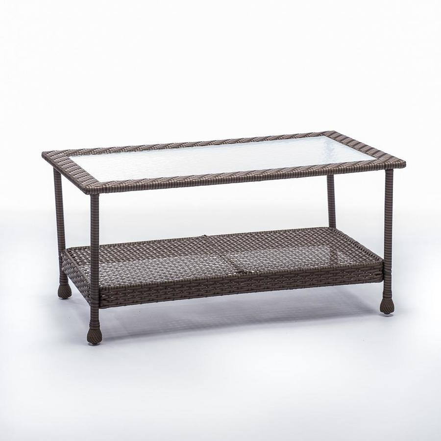 Shop Allen Roth Glenlee Coffee Table Gray Wicker At