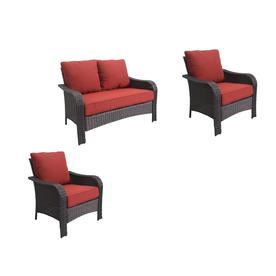 Garden Treasures 3 Piece Steel Frame Patio Conversation Set With Red  Cushions