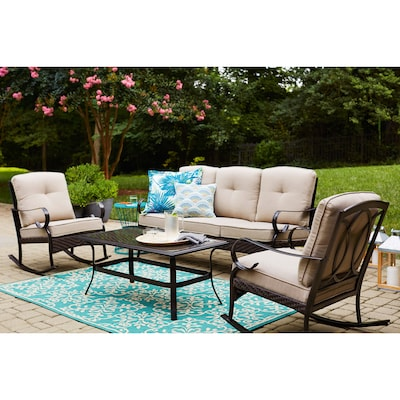 Incredible Arbington 4 Piece Steel Frame Patio Conversation Set With Cushions Squirreltailoven Fun Painted Chair Ideas Images Squirreltailovenorg