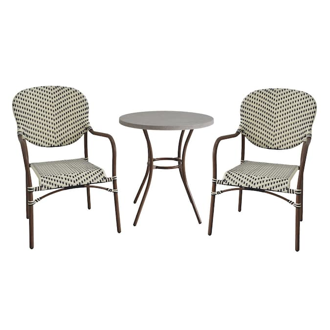 Style Selections Yorkfaire 3 Piece Brown Frame Bistro Patio Set With Bistro In The Patio Dining Sets Department At Lowes Com