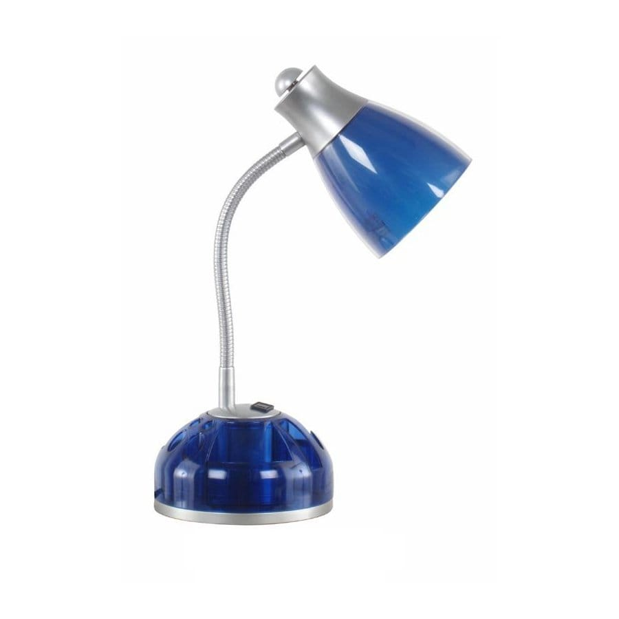 Style Selections 15-in Adjustable Blue Desk Lamp with Plastic Shade