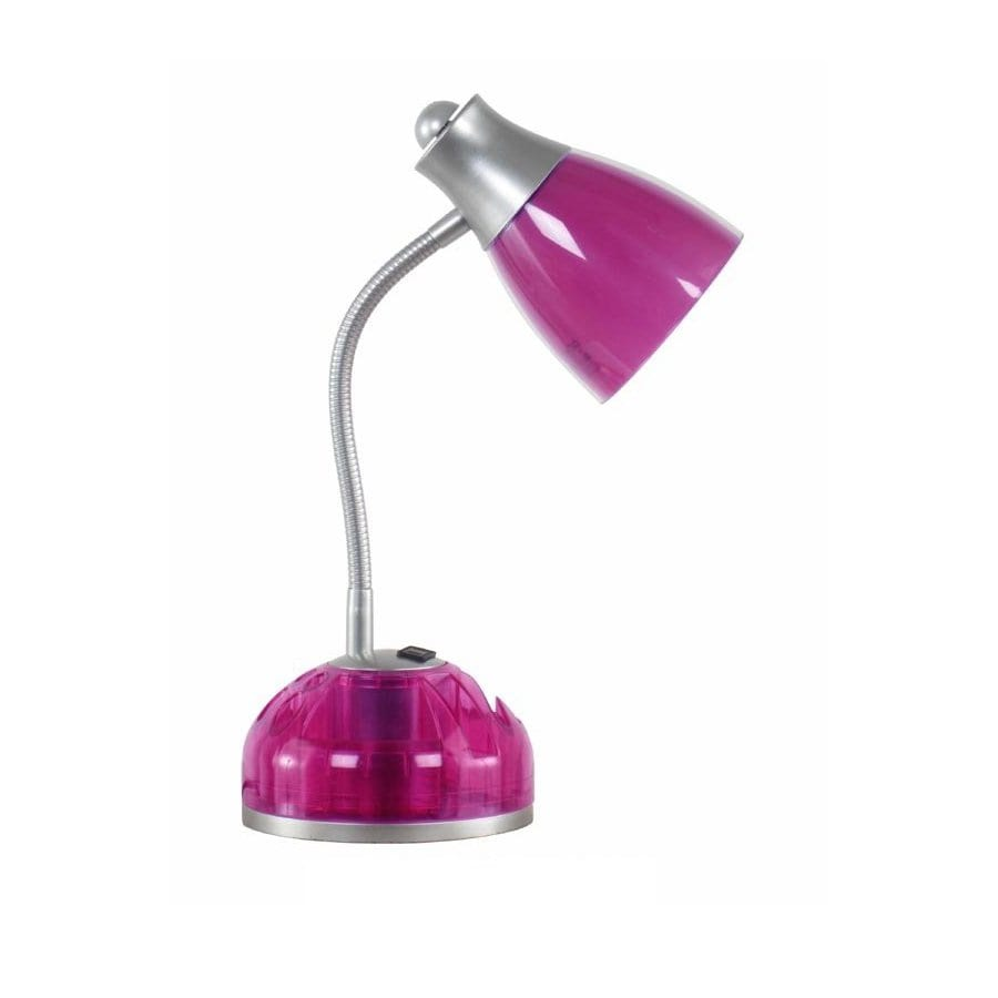 Style Selections 15-in Adjustable Pink Desk Lamp with Plastic Shade