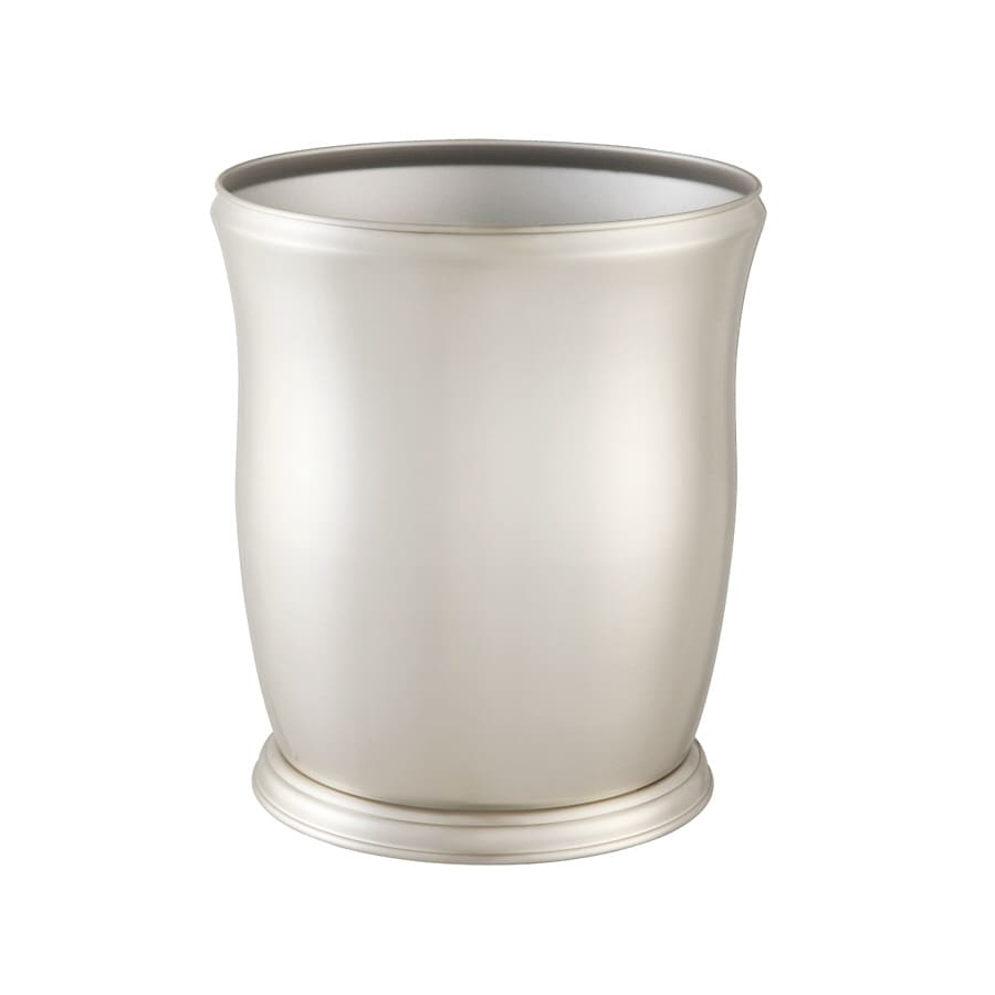 allen + roth Mitchell Richly Plated Brushed Nickel Finish Metal Wastebasket