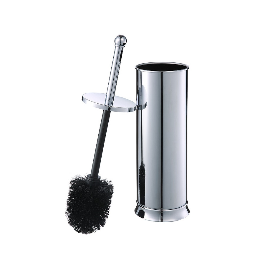 shop allen  roth brinkley chrome metal toilet brush holder at  - allen  roth brinkley chrome metal toilet brush holder