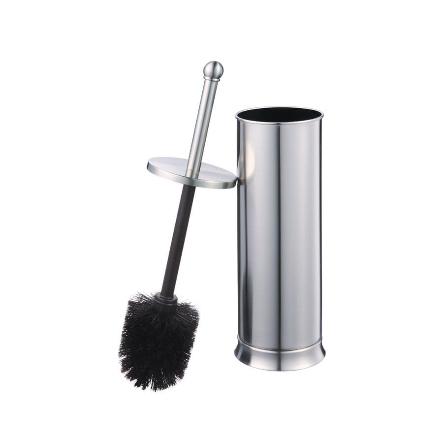 allen + roth Brinkley Brushed Nickel Metal Toilet Brush Holder
