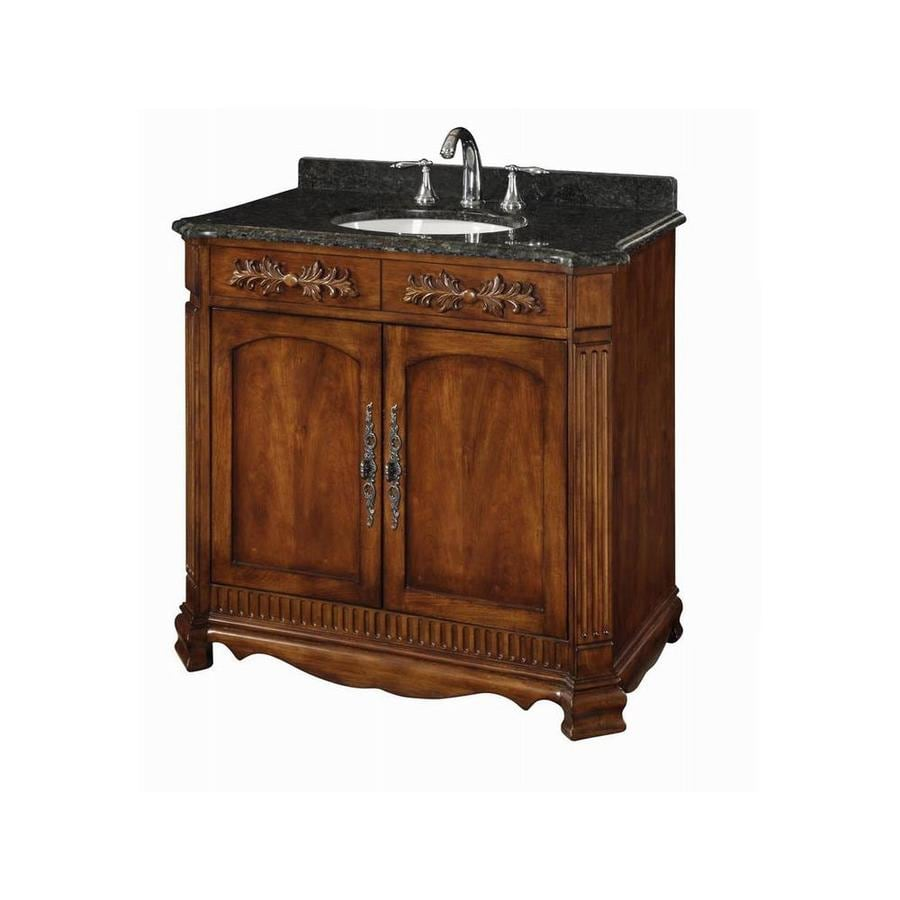 DAVIDSON WOODCRAFTERS Savannah Brown Undermount Single Sink Bathroom Vanity with Natural Marble Top (Common: 36-in x 22-in; Actual: 36-in x 21-in)