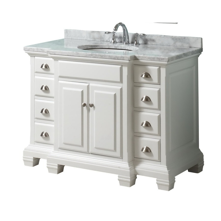 allen + roth Vanover White 45-in Undermount Single Sink Birch Bathroom Vanity with Natural Marble Top