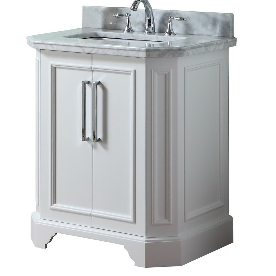 allen + roth Delancy White 31-in Undermount Single Sink Birch Bathroom Vanity with Natural Marble Top