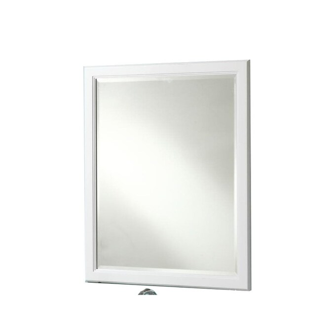 Style Selections Vanover 30 In White Rectangular Bathroom Mirror In The Bathroom Mirrors Department At Lowes Com