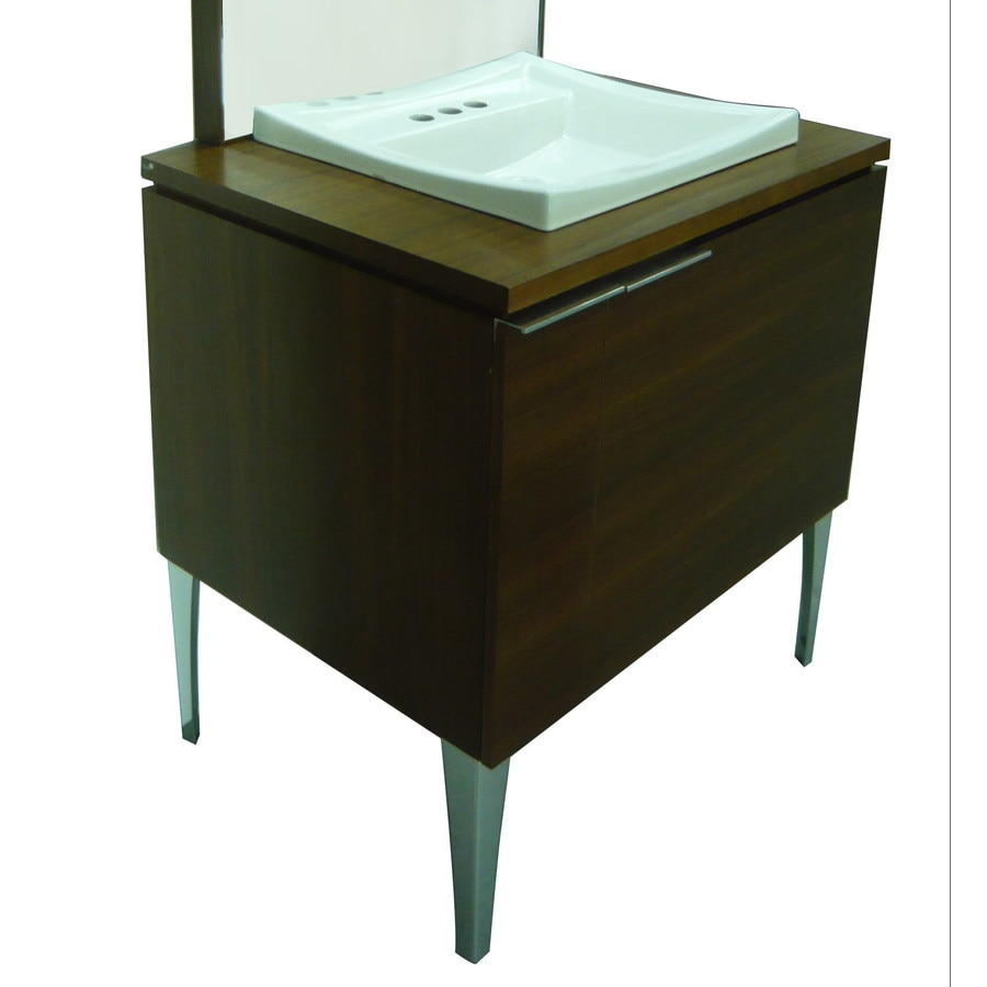 Style Selections Leander Walnut Drop-in Single Sink Hickory Bathroom Vanity with Wood Top (Common: 30-in x 23-in; Actual: 30-in x 23.375-in)