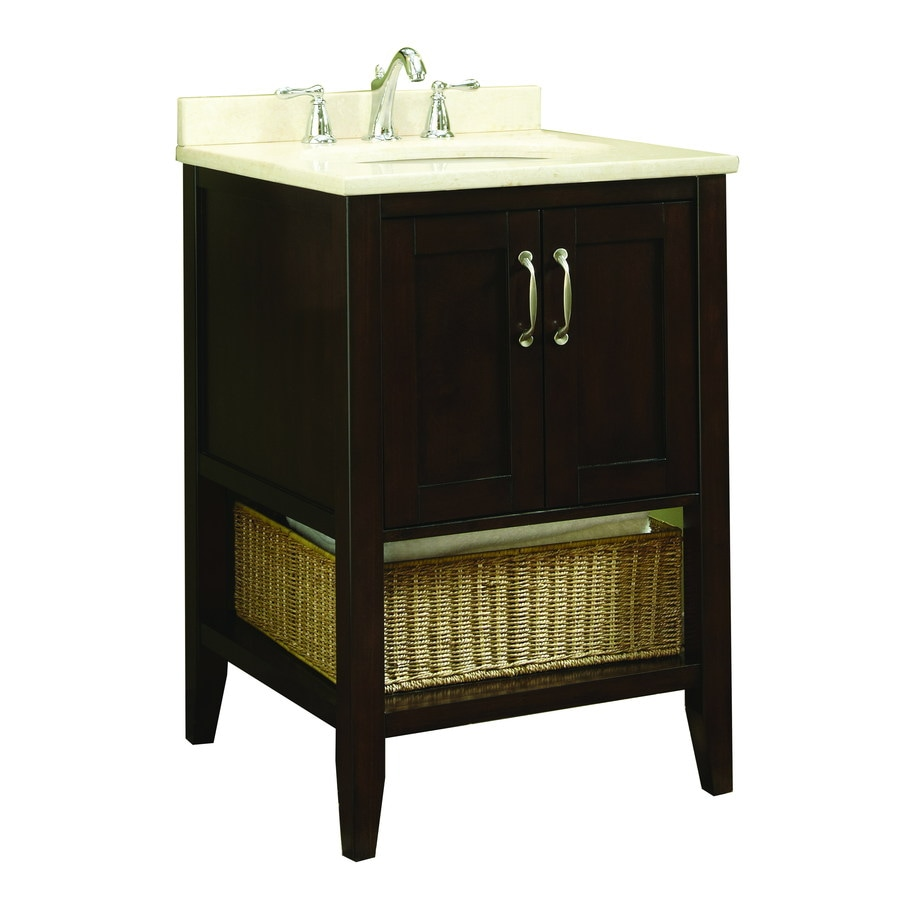 allen + roth Tanglewood 24-in x 23.75-in Espresso Undermount Single Sink Bathroom Vanity with Natural Marble Top