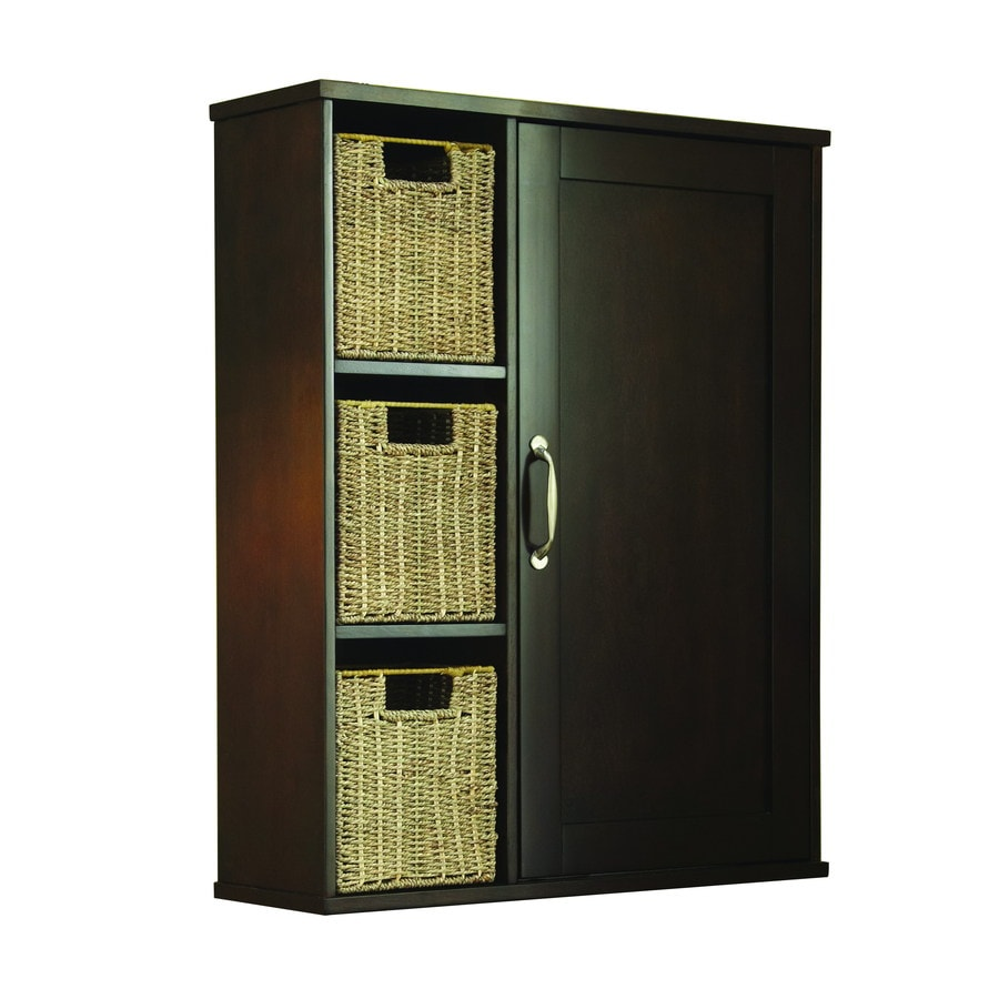 allen + roth Tanglewood 24.75-in W x 30.25-in H x 7.75-in D Brown/Tan Bathroom Wall Cabinet