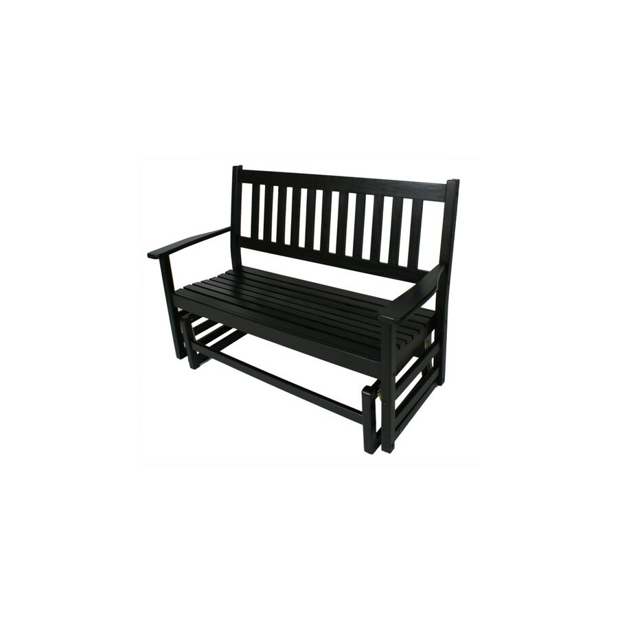 Garden Treasures 2-Seat Wood Traditional Black Wood Glider
