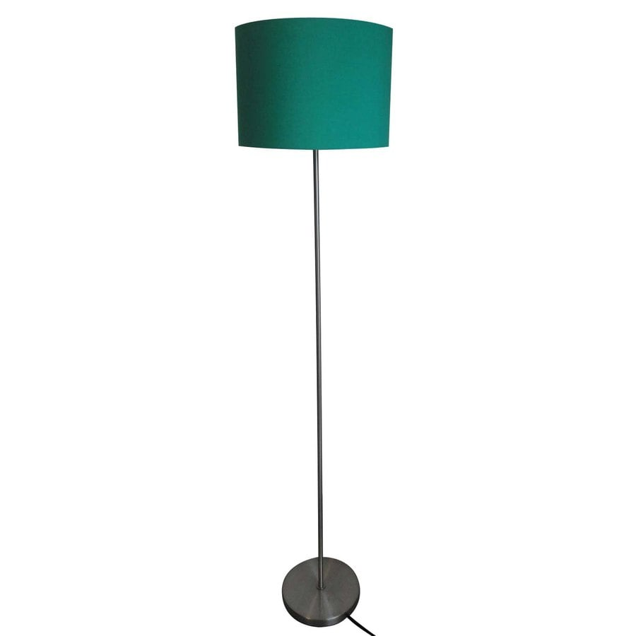 Style Selections 2013 Decor Lamp 60.6-in Satin Nickel Standard Shaded Indoor Floor Lamp with Fabric Shade