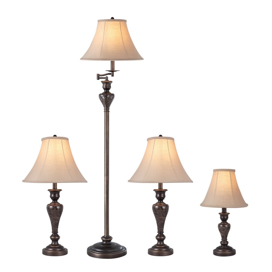 Portfolio Springsley 4-Piece Lamp Set with Brown Shades