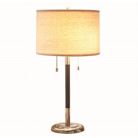 allen roth 26in satin nickel standard table lamp with fabric shade