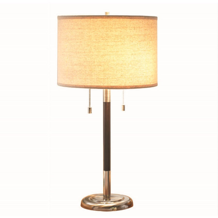 allen + roth 26-in Satin Nickel Indoor Table Lamp with Fabric Shade