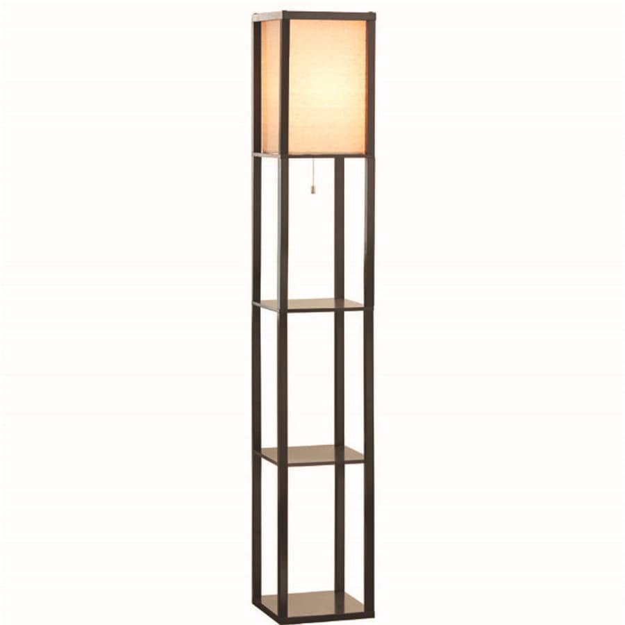 shop allen roth 62 in brown shelf floor lamp with fabric shade at. Black Bedroom Furniture Sets. Home Design Ideas