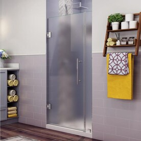 Aston Nautis 72 In H X 33 25 In To 34 25 In W Frameless Hinged Shower Door Frosted Glass In The Shower Doors Department At Lowes Com