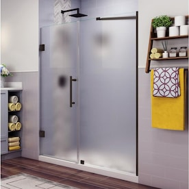 Aston Nautis 72 In H X 69 25 In To 70 25 In W Frameless Hinged Shower Door Frosted Glass In The Shower Doors Department At Lowes Com
