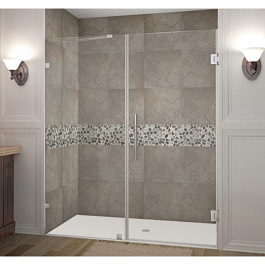 Aston Nautis 72 In H X 65 25 In To 66 25 In W Frameless Hinged Shower Door Clear Glass In The Shower Doors Department At Lowes Com
