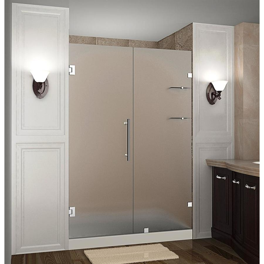 Aston Nautis Gs 72 In H X 54 25 In To 55 25 In W Frameless Hinged Shower Door Frosted Glass In The Shower Doors Department At Lowes Com
