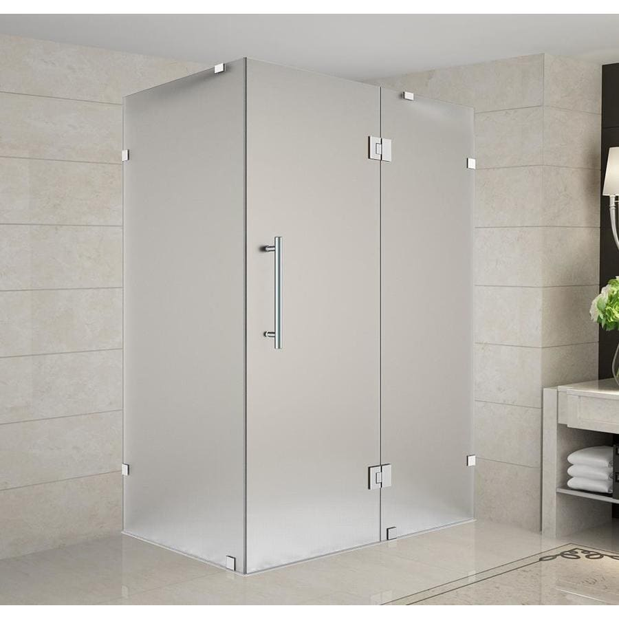 Aston Avalux 72 In H X 40 In W Frameless Hinged Shower Door Frosted Glass In The Shower Doors Department At Lowes Com
