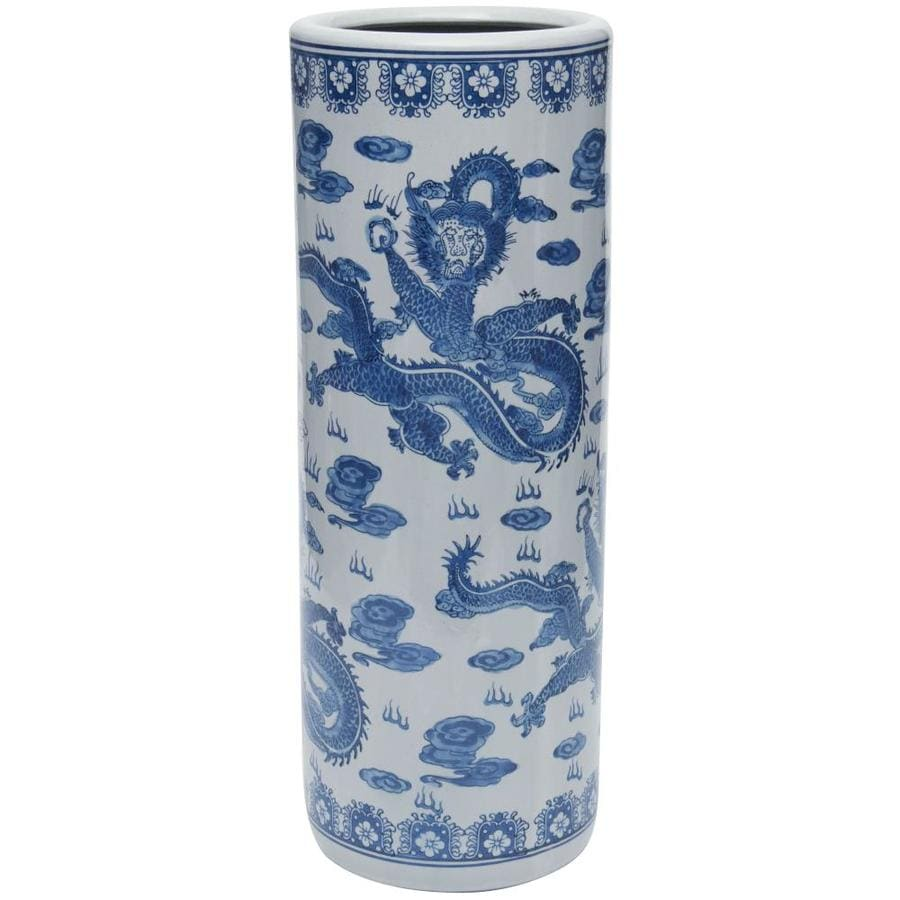 Oriental Furniture 24 In Dragon Blue And White Porcelain Umbrella Stand In The Umbrella Stands Department At Lowes Com