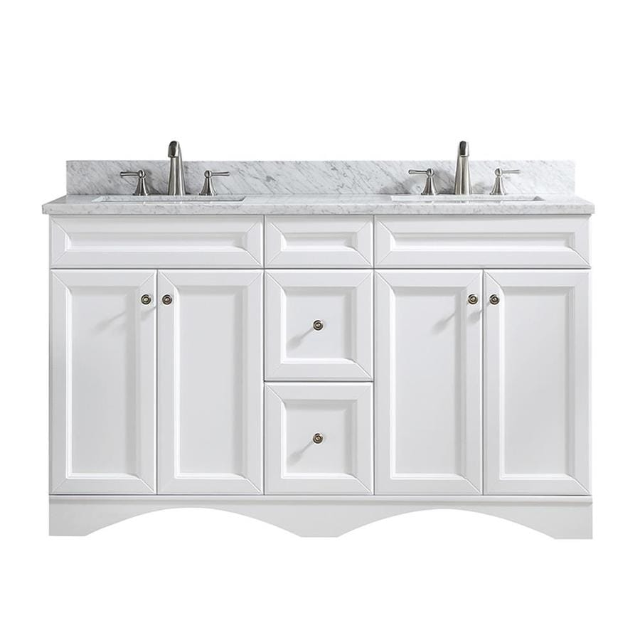 Casainc 60 In White Undermount Double Sink Bathroom Vanity With Off White With Speckles Marble Top In The Bathroom Vanities With Tops Department At Lowes Com